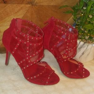 Red suede mesh and gold studded heels Size 5.5